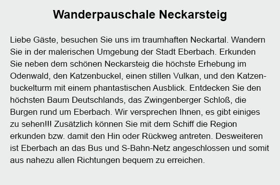 Neckarsteig wandern aus  Amorbach